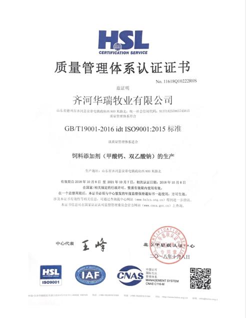 ISO9001质量体系管理认证证书